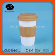 , Tasses en gros de voyage en céramique, tasse en porcelaine avec enveloppement en silicone, tasse de café en tasse à main en gros avec couvercle et couvercle en silicone