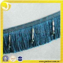 European Style Rayon Beaded Tassel Fringe Hand Embroidery Designs Blue Trimming Lace