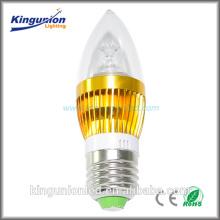 Alto brilho preço luz da vela, alumínio ou vidro LED Candle Light