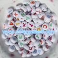 White Alphabet Letter Beads Coin Round Flat Beads 4*7mm