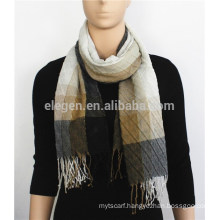 Printed Acrylic and Metal Scarf with fringe