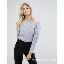 Ladies Striation Blouse with Collarless Long Sleeve Blouse