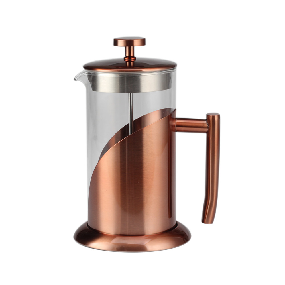 Copper Stainless Steel Frame Glass French Press