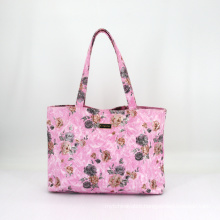 Floral Printing PU Fake Leather Waterproof Custom Shopping Bag Women Tote Bag