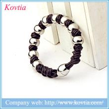 316L stainless steel beaded bracelet magnetic clasp bracelet fashion leather bracelet