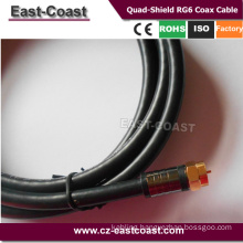 High Definition Pro Quad-Shield RG6 Coax Cable with F plug 6FT/12FT