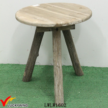 Round 3 Legs Vintage Rustic Wood Bed Side Table