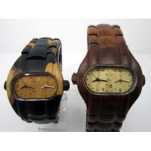 Hlw046 OEM montre en bois des hommes et des femmes montre en bambou de haute qualité montre-bracelet