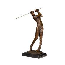 Sport Messing Statue Golfer weiblichen Dekor Bronze Skulptur Tpy-790 (C)