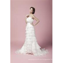 Vaina cariño cuello volante con frisado vestido de boda sin tirantes AS27902
