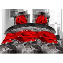 100% poliéster Microfiber Home Use Rose Padrão Comforter Bedding Set
