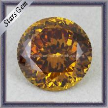 Bom Polido Forma Redonda Shinning Golden CZ Gems