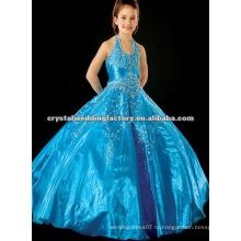 Лучшие продажи синий бисером холтер вышитые бальное платье спинки театрализованное платья девушки цветка CWFaf4202