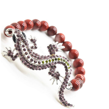Red Jasper 8MM Round Beads Stretch Gemstone Bracelet with Diamante alloy fox Head Piece