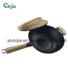 No hay humos Wok de madera entera Wok utensilios de cocina de hierro fundido