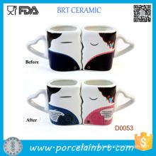 Taza cambiante del color sensible al calor del día de tarjetas del día de San Valentín de cerámica