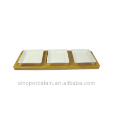 Restaurant Ceramic Appetizer Serving Set with Square Dishes & Bamboo Base for BS140122A