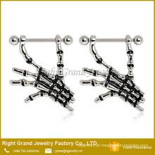 Esmalte de aço cirúrgico mãos esqueleto mamilo anéis escudos jóias