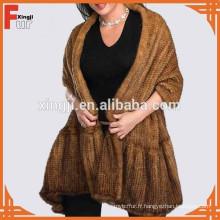 Châle de fourrure de vison tricoté naturel de qualité supérieure