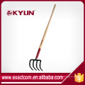 "Garden Tools Forged 4T Potato Refuse Hook Rake With 54"" Ash Handle"