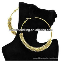 Gold Crystal Spacer DIY Basketball Wives Hoop Earring! Shamballa Earrings BWE65