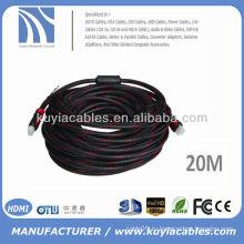 Позолоченные 20M HDMI-кабель между мужчинами с нейлоновыми двойными ферритовыми шариками