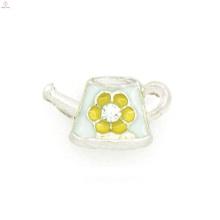 Zink-Legierung süße Blume Charme, benutzerdefinierte Emaille Schwimm Medaillon Charme