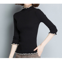 PK18ST096 classic constract ribbed wool sweater for women