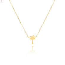Stainless Steel 18K Gold Plated Palm Tree Necklace