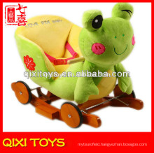 Customized logo cute gift plush frog rocking chair with music