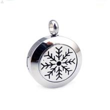 Fashion stainless steel Christmas snowflake perfume locket pendant jewelry