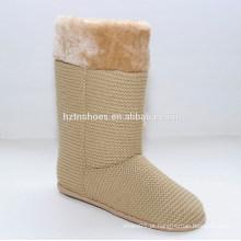 Tricotado faux pele bola mulheres meninas camurça meia botas de inverno para meninas