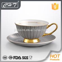 Fine Bone China antiken Keks Kaffeetassen und Untertasse