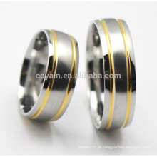 Ouro de prata de dois tons de aço inoxidável anel de casamento define para o casal