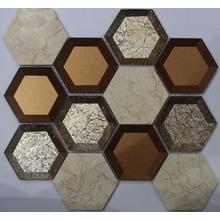 73 x 73 goldene Cover Hexagon Mosaik Fliesen
