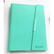 Green Hardcover Notebook Custom Logo. Imitation Leather PU Loose-Leaf Notebook