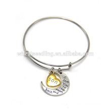 exquisite adjustable bangle custom for parent infinity moon infinity heart bracelet