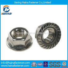 Proveedores de China Acero inoxidable 18-8 tuercas de brida hexagonal DIN6923