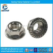 Fornecedores de aço inoxidável 18-8 Hex flange nozes DIN6923