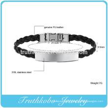 Vintage black PU leather braided rope bracelet stainless steel bracelet leather