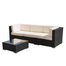 Conjunto de sofá secional preto Rattan ao ar livre