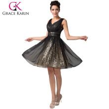 Der reizvolle tiefe V-Ansatz der Frauen Neue Art- und Weiseknie-Längen-schwarze Chiffon- Heimkehr-Kleider CL6156