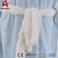 New design cuff sleeve above knee blue white contrast women flannel fleece bathrobe