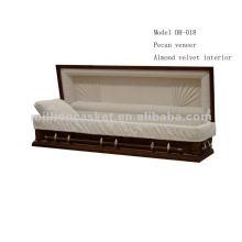 Noz-pecã folheado completo sofá estilo americano de madeira caixão
