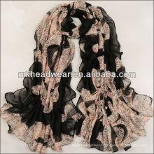 Pashmina Paris Yarn Leopard Wrap Soft Wrinkled Lady Shawl Chiffon Scarf
