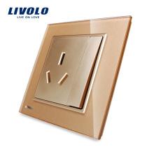 Vente chaude Livolo Cristal Panneau De Verre Cristal Mur Mountet Socket Power avec 1Gang 2 Voies Bouton-poussoir Mur Interrupteur VL-W2Z1BS-13