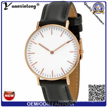 Yxl-653 High End Bussiness Stainless Steel Back Genuine Leather Quartz Watch, Watch Case Stainless Steel