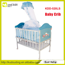 China manufacturer NEW design portable blue multi-functional baby crib with steel frame