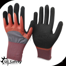 SRSAFETY double dipped good quality safe hand gloves sandy nitrile coat