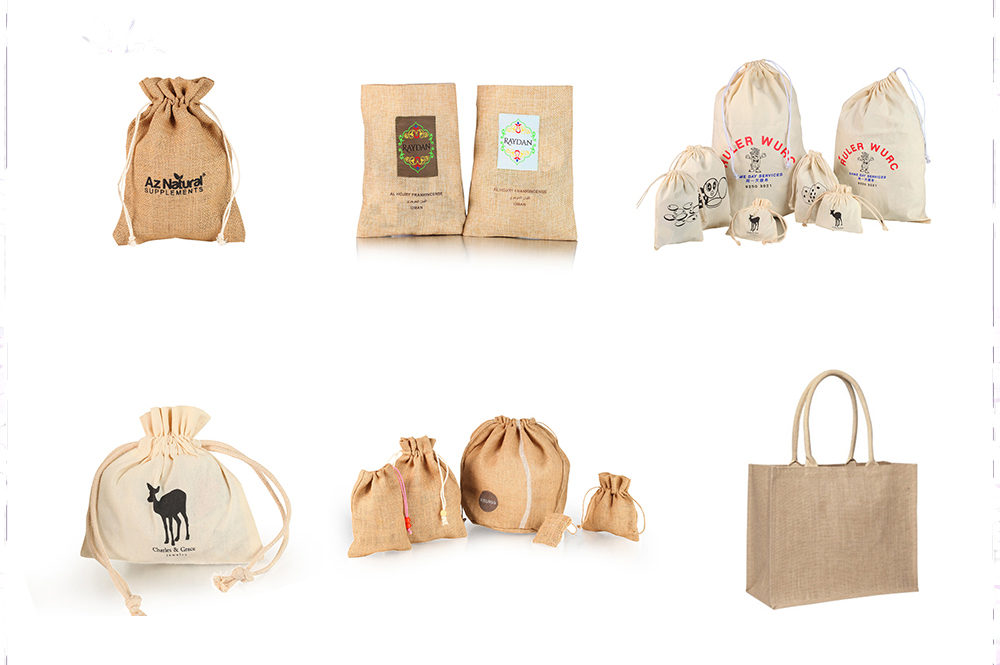 Grey jute draws string storage bag wholesale